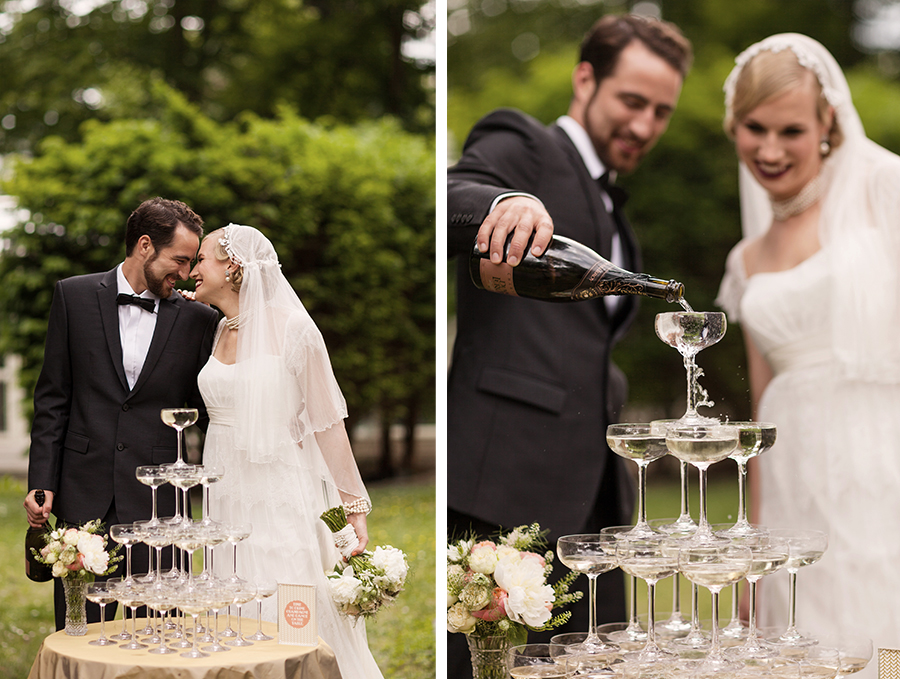 Schlosshotel Grunewald Hochzeit Champagne Tower Photo