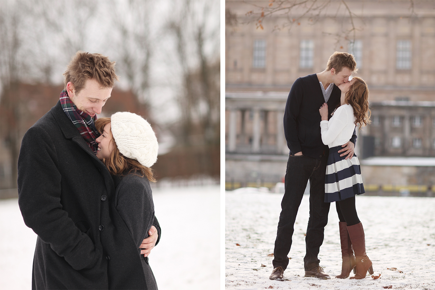 snowy engagement photo