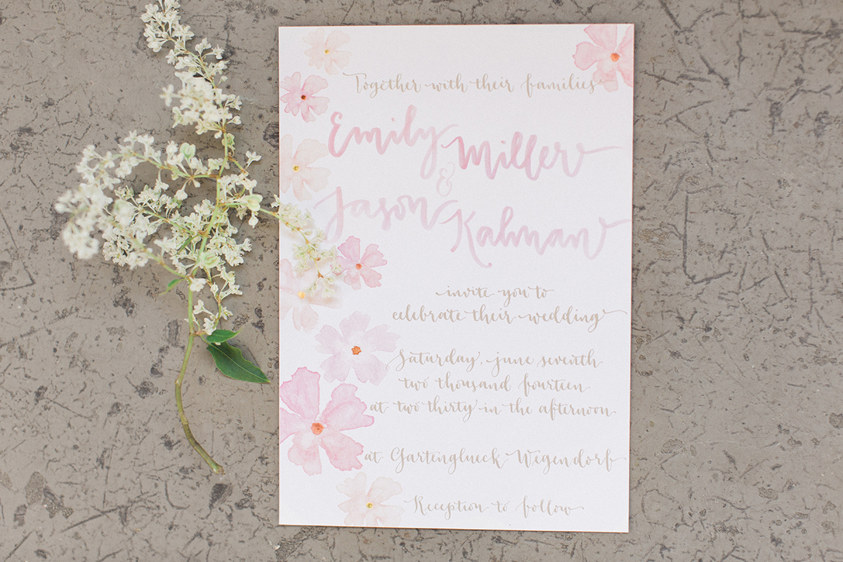 a creative affair watercolor wedding invitation