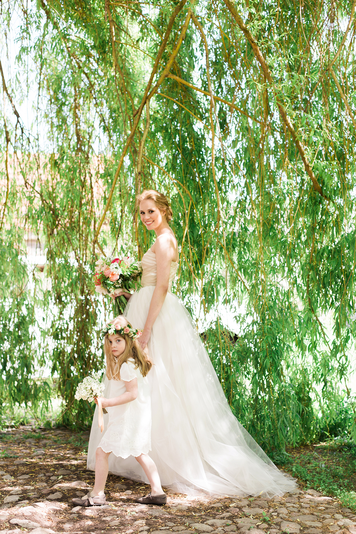 Bride and Flower Girl Wedding Photo