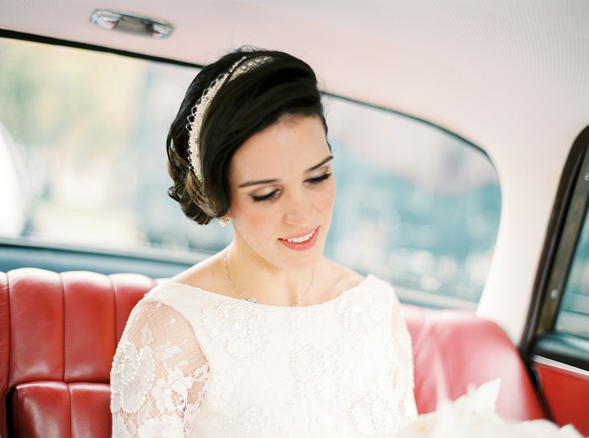 Vintage Bride in Wedding Car