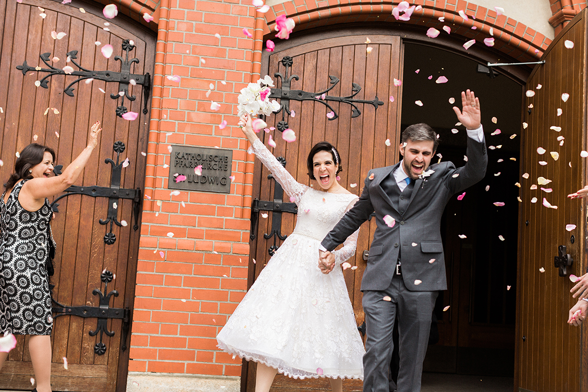 Married Couple exiting the Church in Berlin, Germany