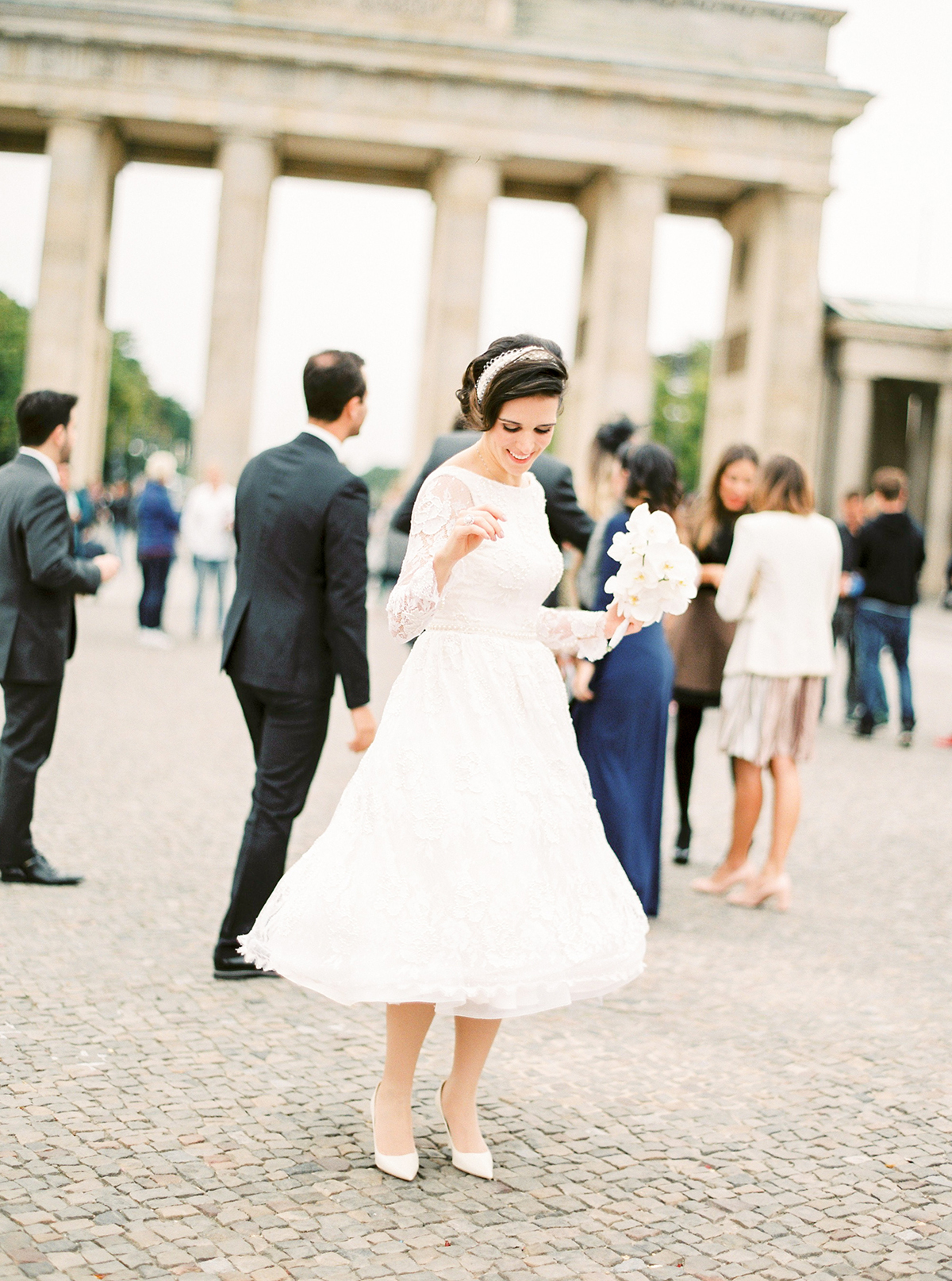 Bride at Brandenburger Tor in Berlin, Germany