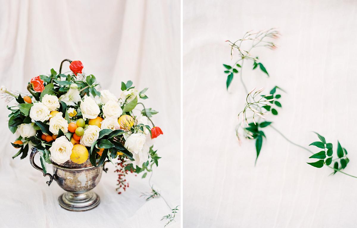 Jasmine, Rose, Poppy & Citrus Floral Arrangement by Fleuropean. Photography by Ashley Ludaescher
