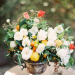 Jasmine, Rose, Poppy and Citrus Floral Arrangement by Fleuropean. Los Angeles Wedding Photographer Ashley Ludaescher