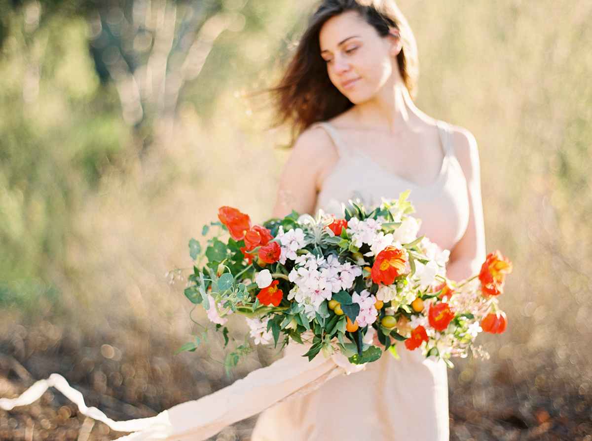 Poppy & Citrus Bridal Bouquet by Fleuropean. Photography by Ashley Ludaescher