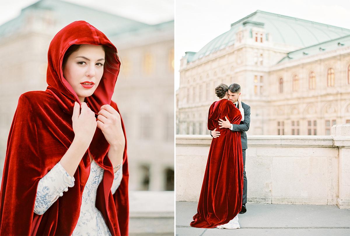 Hochzeitsfotograf Wien Palais Liechtenstein Marie Antoinette Wedding in a Eva Polechinski Cape