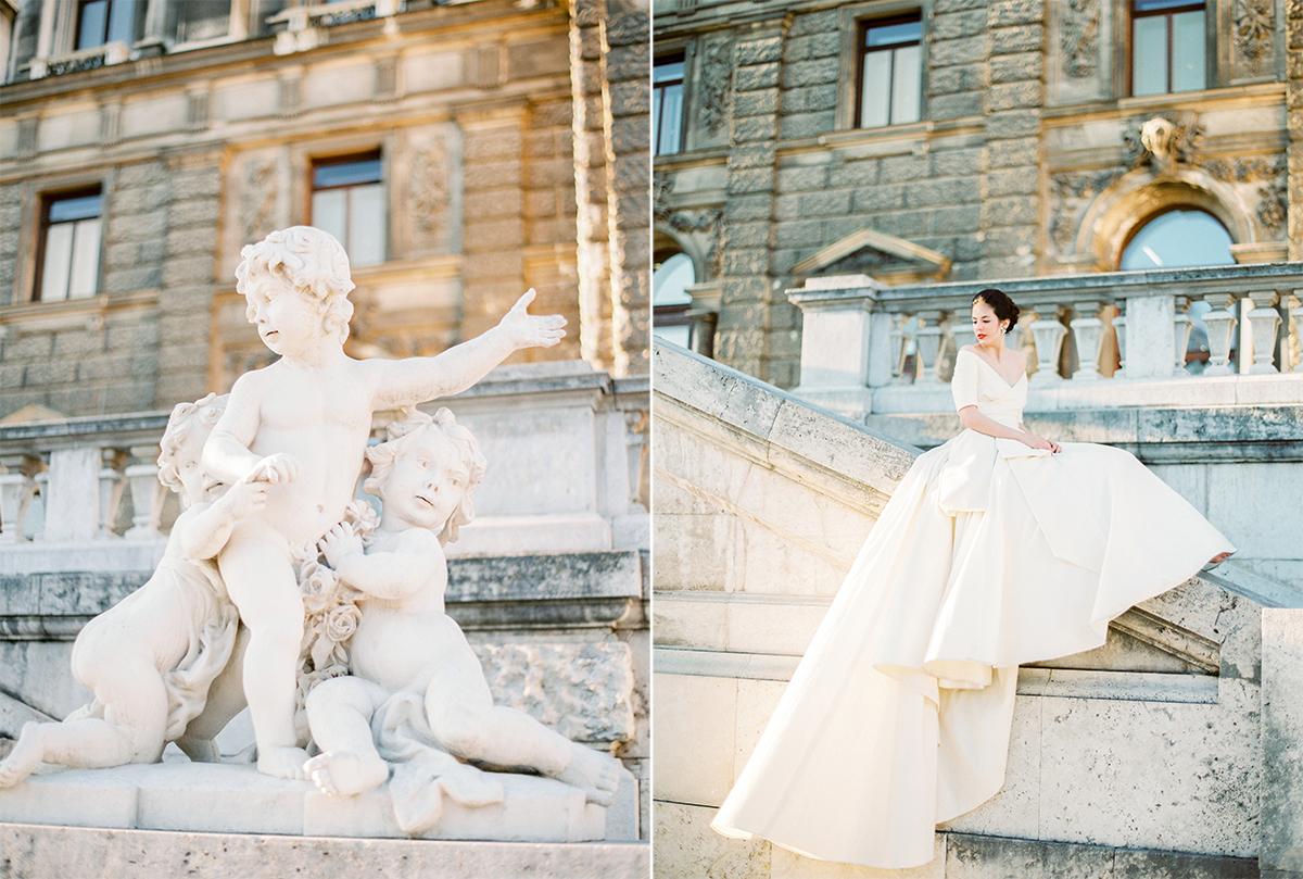 Hochzeitsfotograf Wien Palais Liechtenstein Marie Antoinette Wedding in a Lena Hoschek Gown