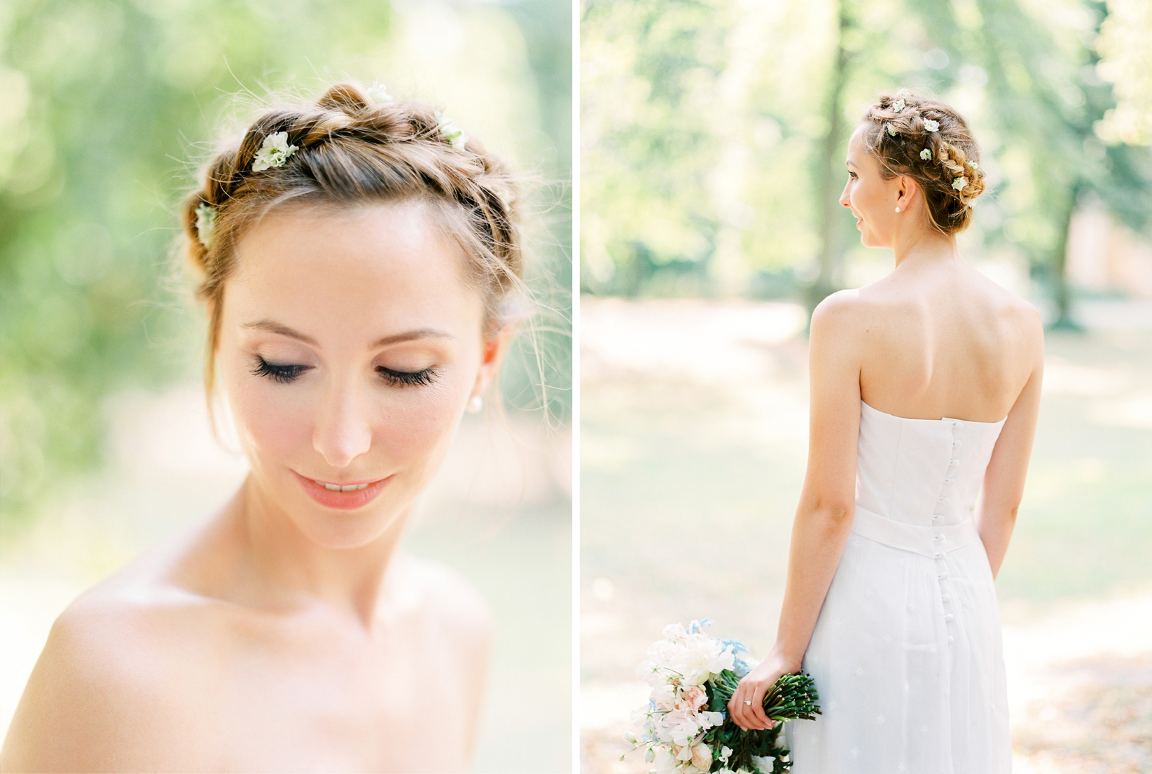 Bridal Crown Braid with Flowers by Lena Schleweis & Summer Bridal Bouquet by Botanic Art