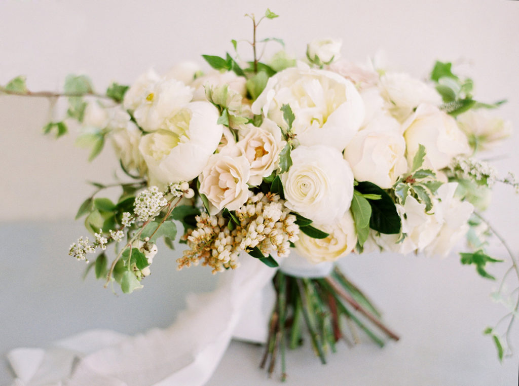 White Bridal Bouquet with Ranunulus and Garden Roses by Noonan's Wine Country Designs