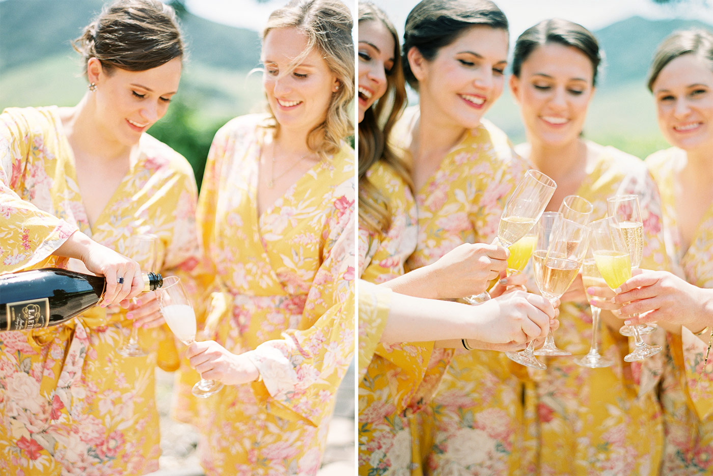 Bridesmaids in Plum Pretty Sugar Robes