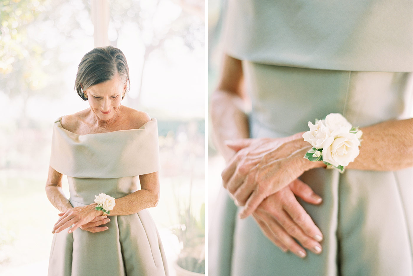 Mother of the Bride with White Rose Corsage