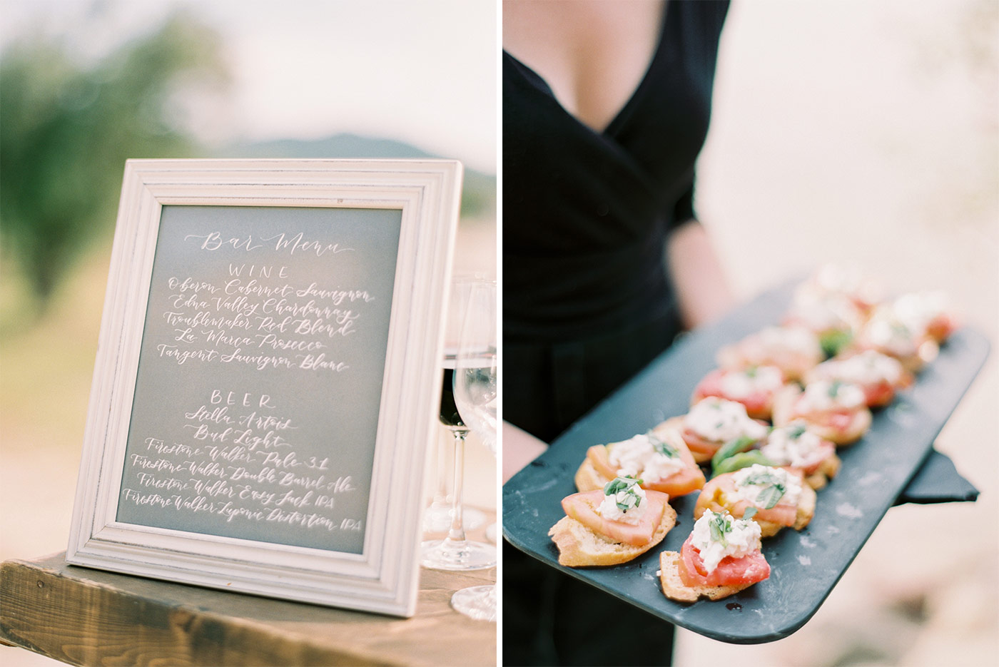 Bar Menu Calligraphed by Sophia Loves Letters and Appetizers by Field to Table Events
