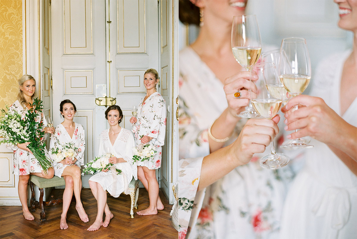 Bridesmaids with Champagne at Eckartsau Castle in Vienna, Austria